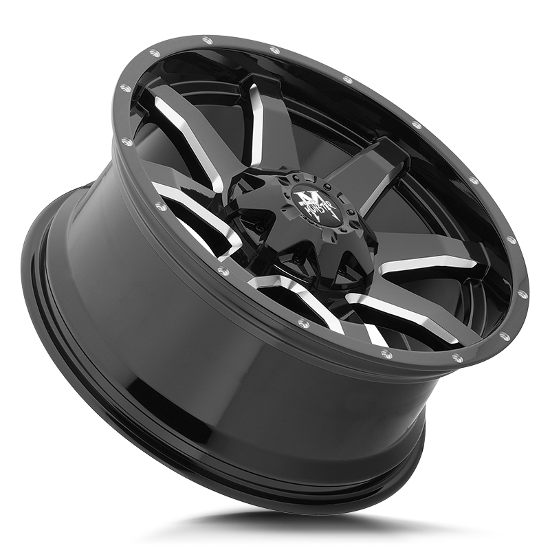 The M08 Wheel by Off Road Monster in Gloss Black Milled