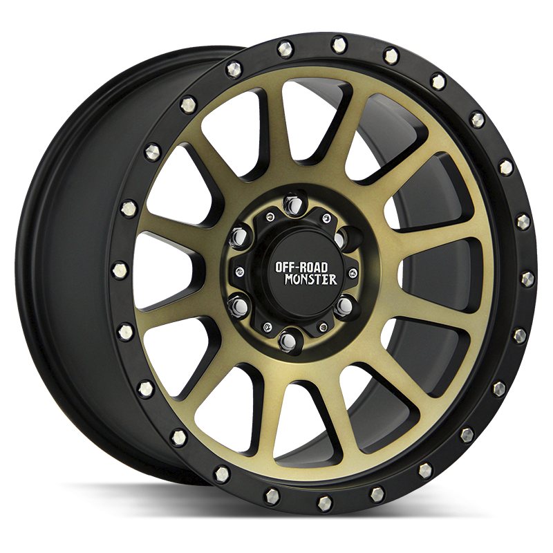 The M10 Wheel by Off Road Monster in Flat Black Machined Bronze