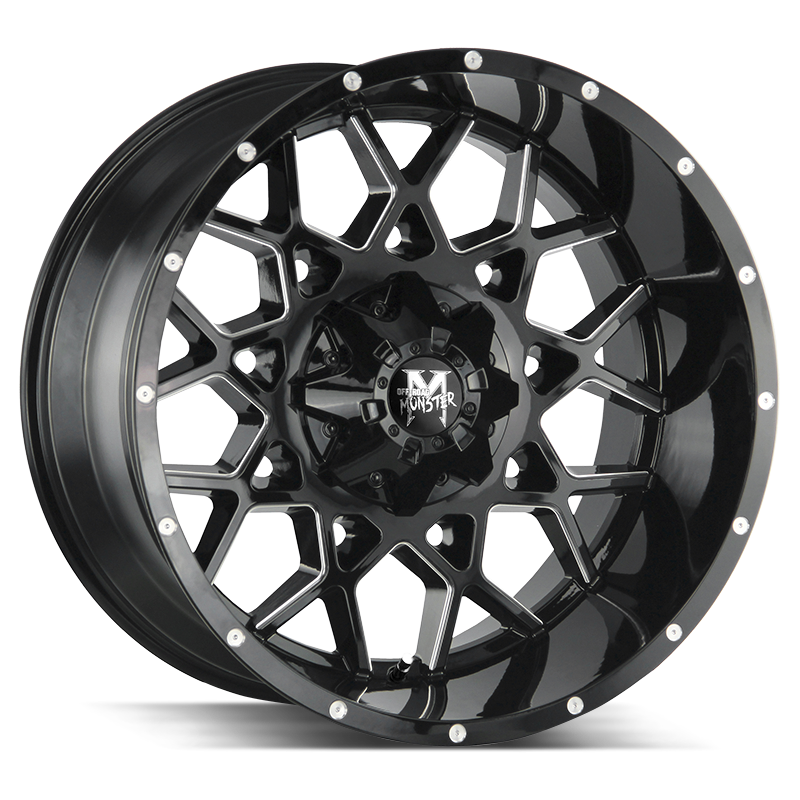 The M14 Wheel by Off Road Monster in Gloss Black Milled