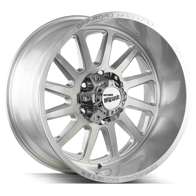 The M17 Wheel by Off Road Monster in Brushed Face Silver