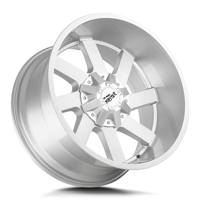 The M80 Wheel by Off Road Monster in Brushed Face Silver