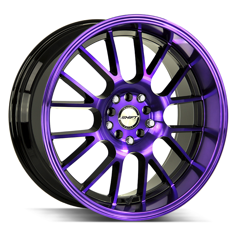 The Crank Wheel by Shift in Gloss Black Purple Machined
