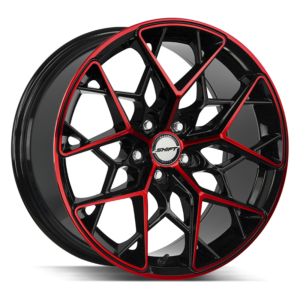 The Piston Wheel by Shift in Gloss Black Candy Red Machine