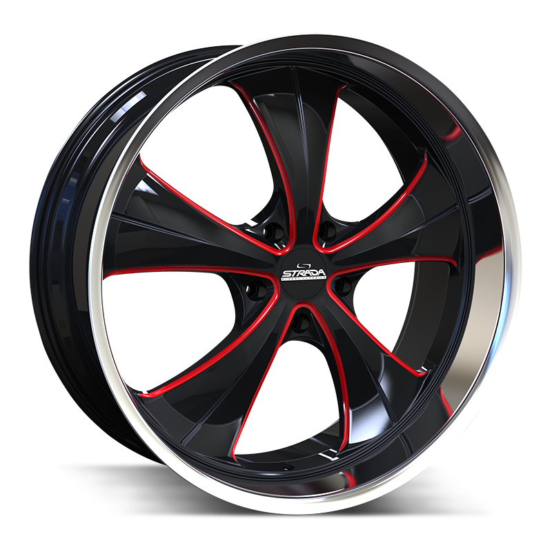 The Old Skool Wheel by Strada Street Classics in Gloss Black Candy Red Milled S