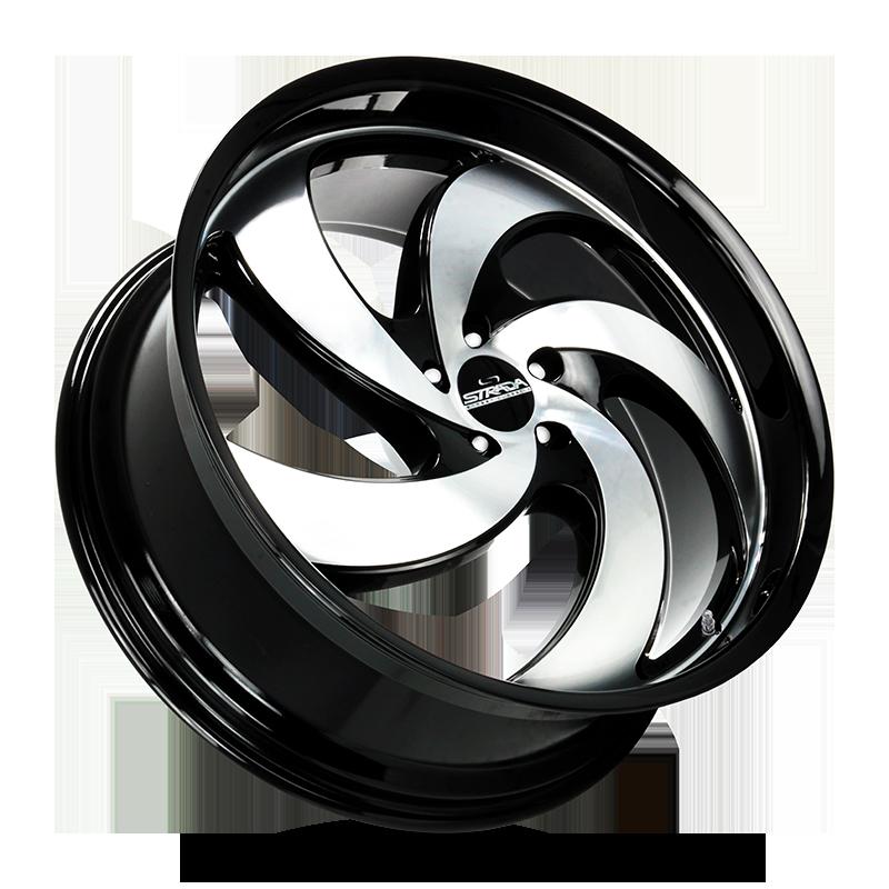 The Retro 5 Wheel by Strada Street Classics in Gloss Black Machined