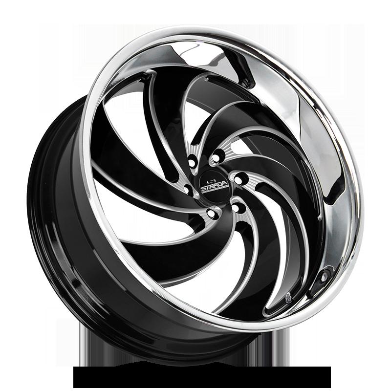 The Retro 6 Wheel by Strada Street Classics in Gloss Black Milled SS Lip