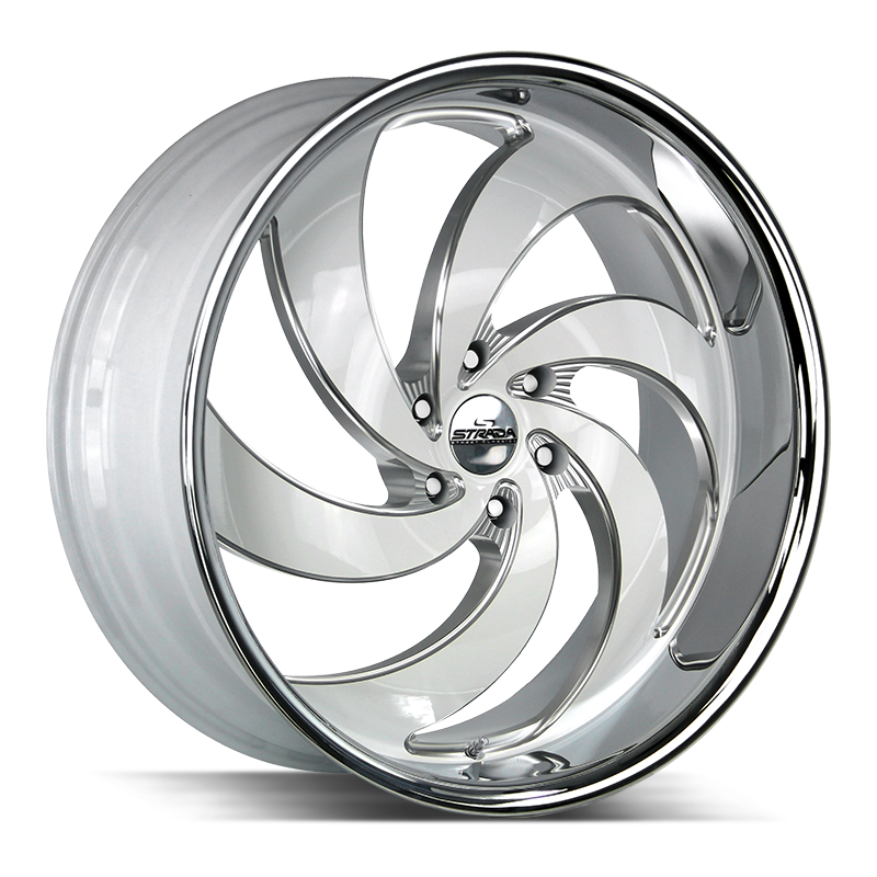 The Retro 6 Wheel by Strada Street Classics in Gloss White Milled SS Lip