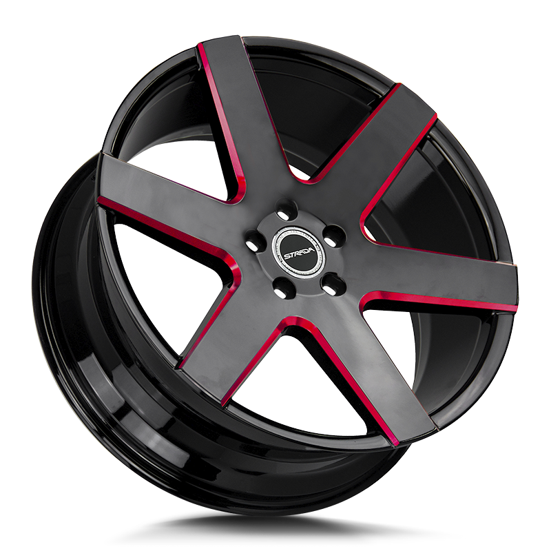 The Coda Wheel by Strada in Gloss Black Candy Red Milled