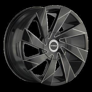 The Moto Wheel by Strada in Gloss Black Milled Edge Spoke