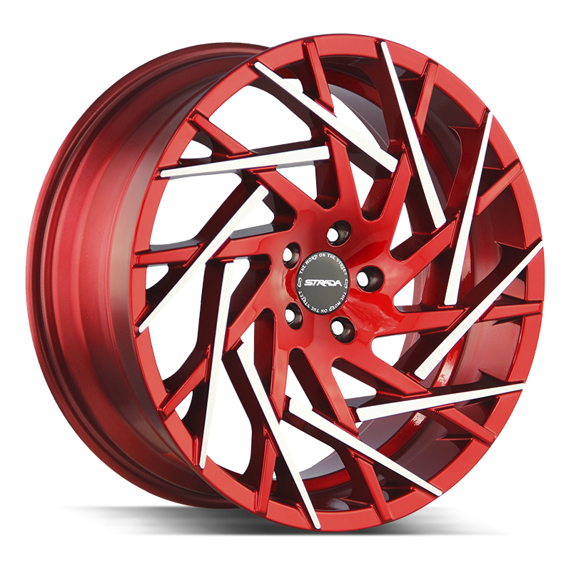 The Nido Wheel by Strada in Candy Red Machined Tips