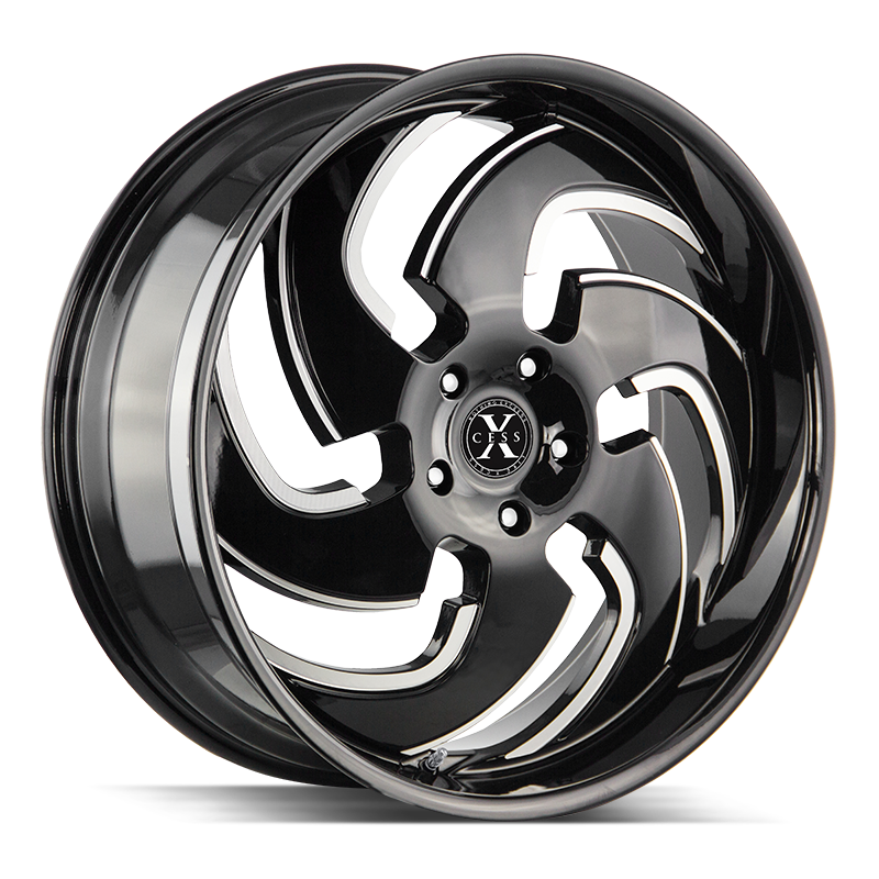 The X03 Wheel by Xcess in Gloss Black Milled
