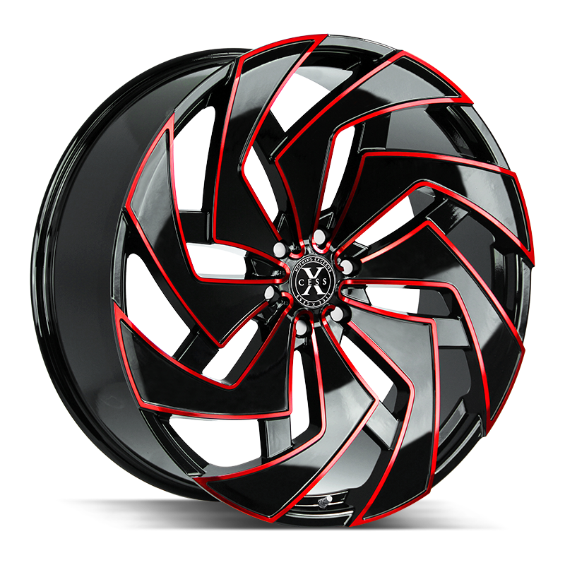 The X04 Wheel by Xcess in Gloss Black Candy Red Milled